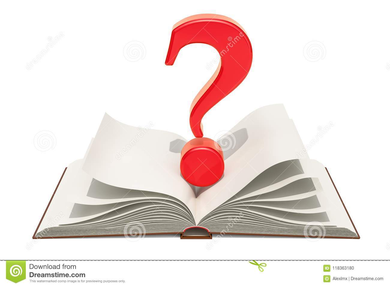 Opened blank book with question mark, 3D rendering