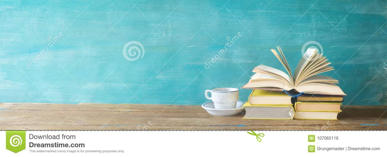 Opened Book, Cup Of Coffee, Stock Photo - Image of printed