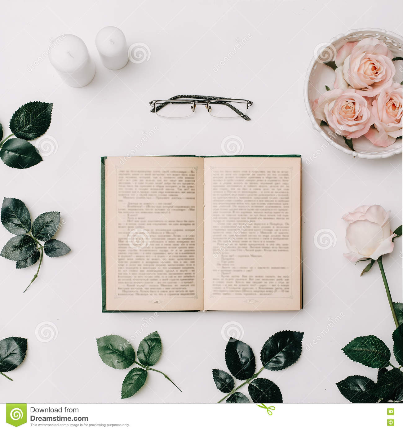 Photo Books Lay Flat: Opened Book, Glasses, Pink Roses On White Background. Flat