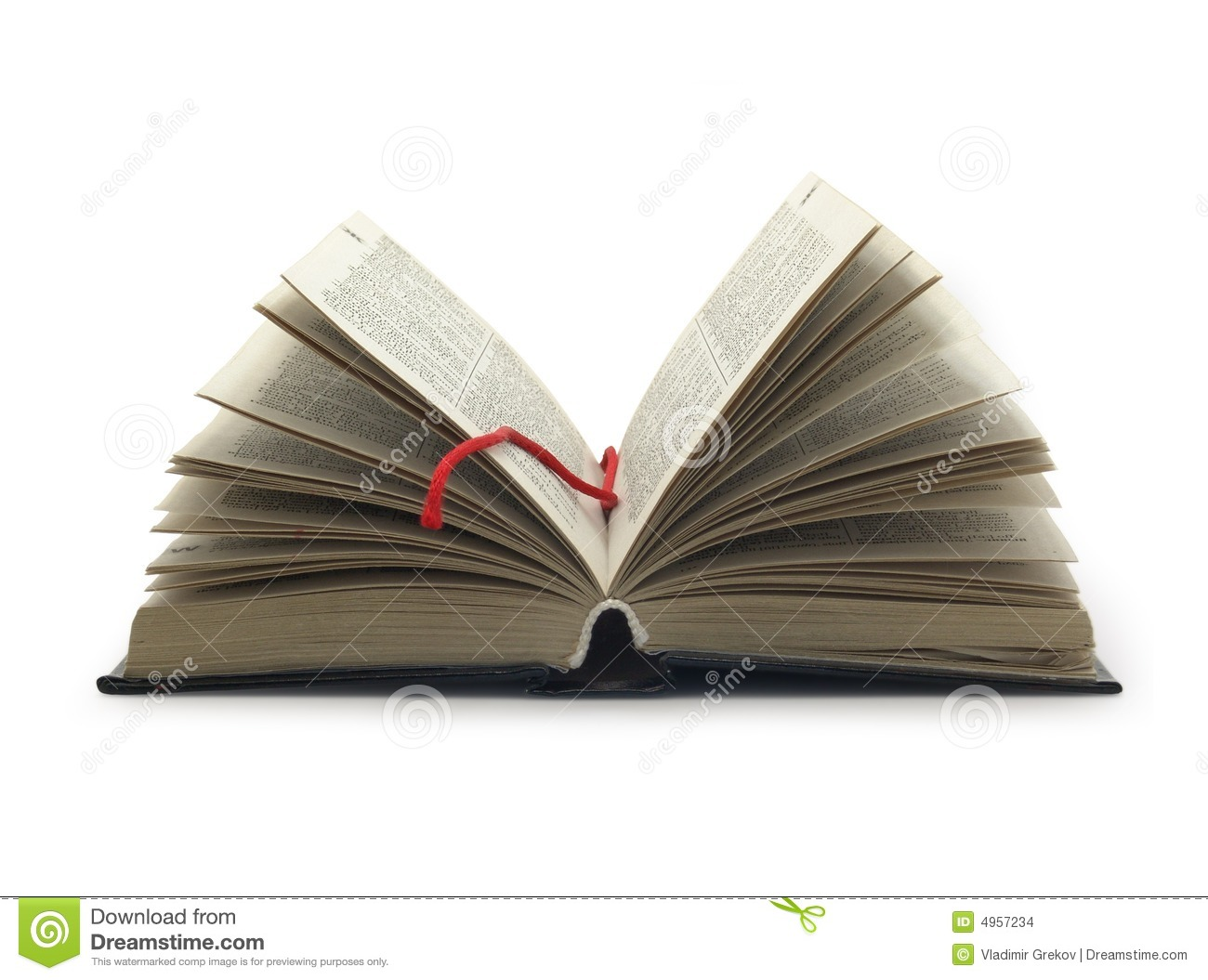 Opened book with red bookmark