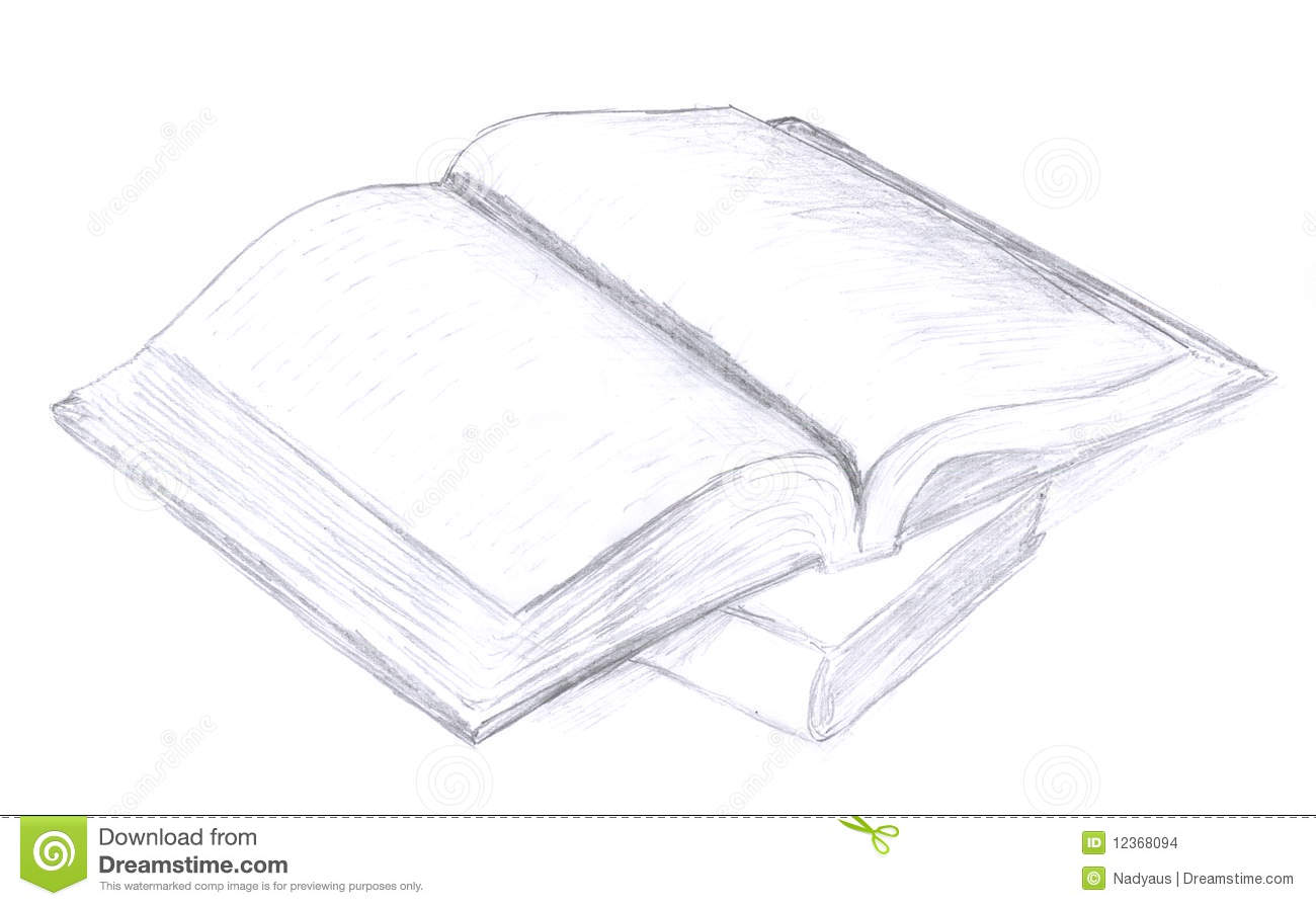 Opened book sketch icon scribble pencil drawing