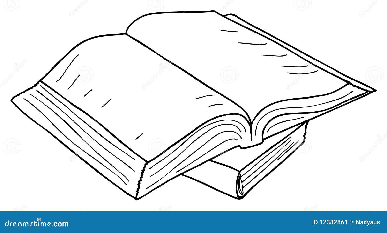 Día Del Libro Book Coloring Pages: Opened Book Sketch, Vector Stock Image