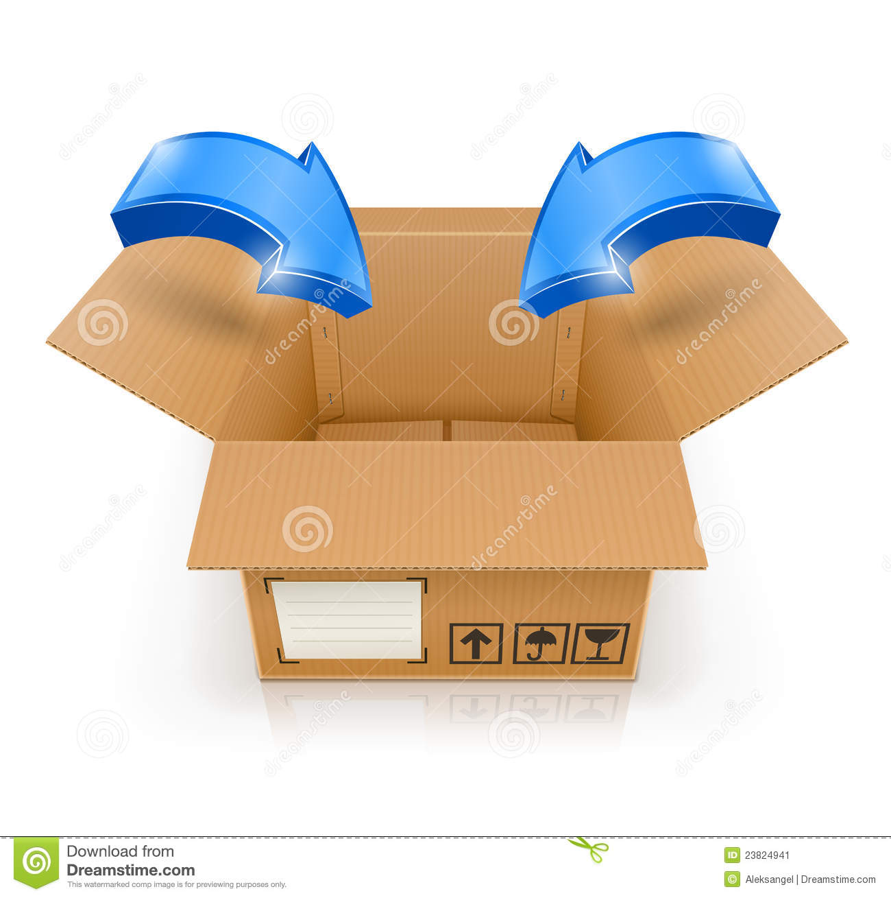 Opened Box With Arrow Inside Stock Vector