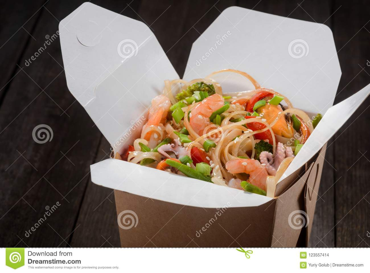 Box with Asian food stock photo  Image of beef, away - 123557414