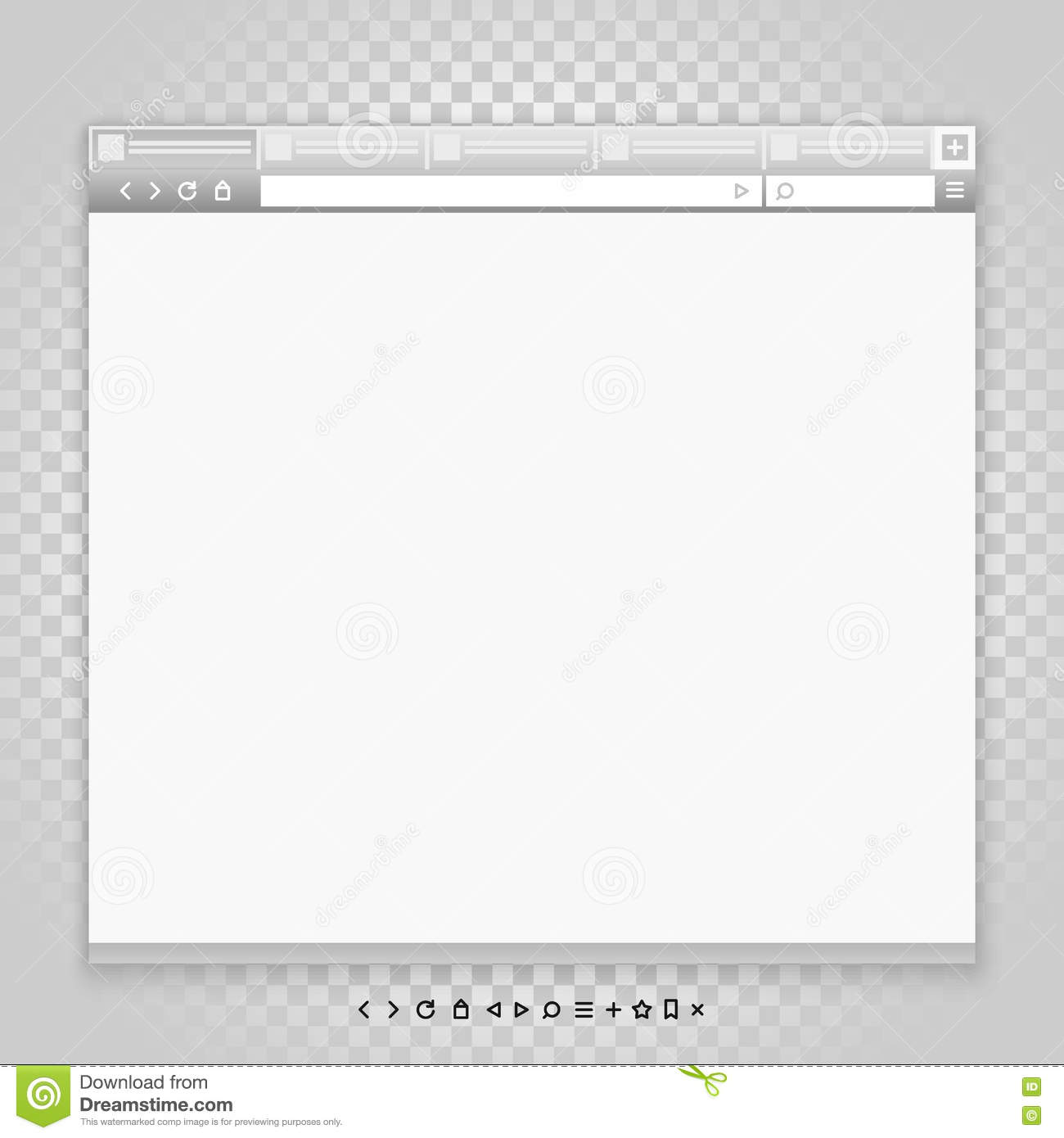 Opened browser window template and different pictograms for Window design template