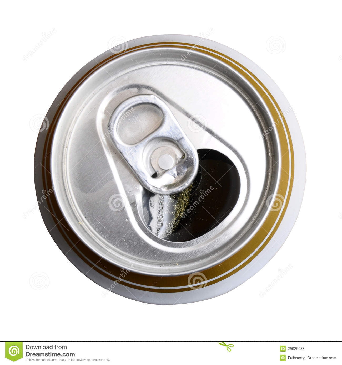 Opened Can Of Beer. Top View Stock Photo