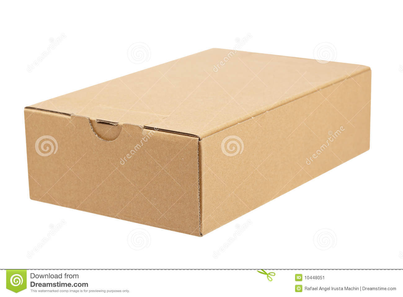 cardboard box, isolated on white background. Shallow depth of field.