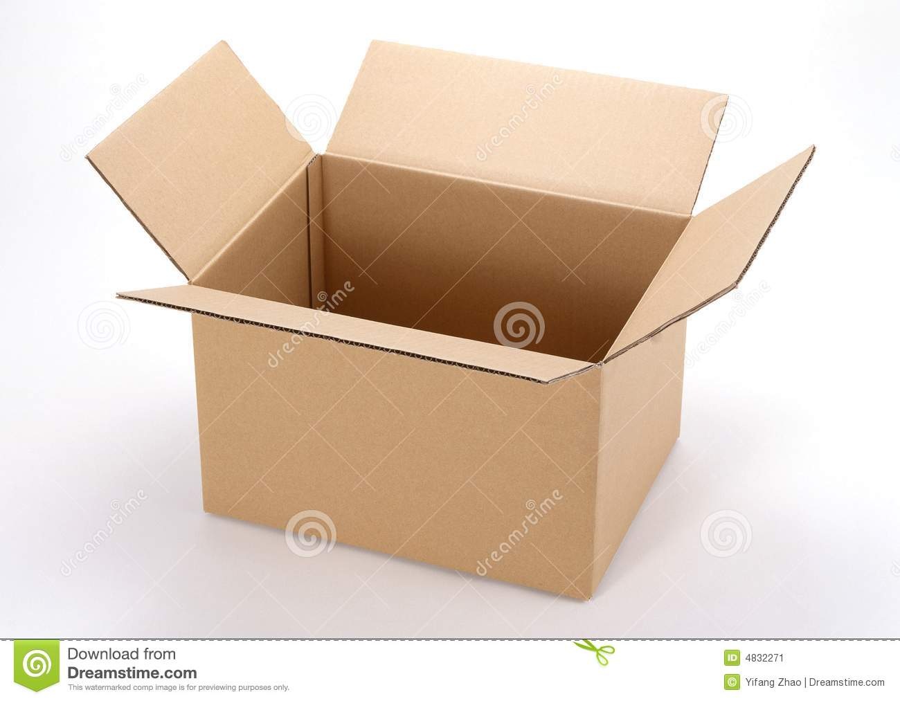 Opened cardboard boxes