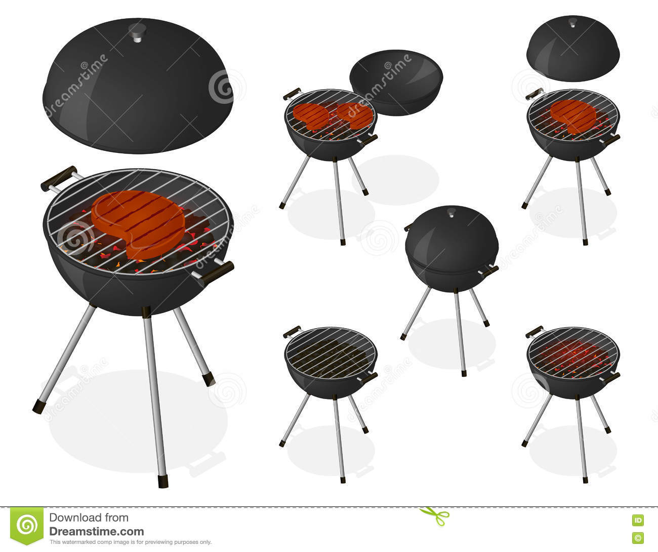 Opened And Closed Barbecue Grill Set Stock Illustration