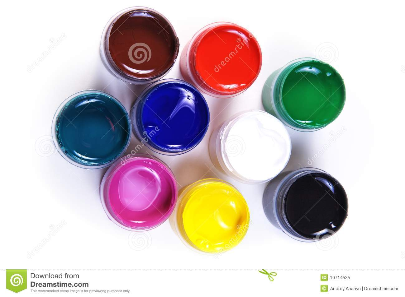 Opened Containers With Paint Of Different Colours Stock