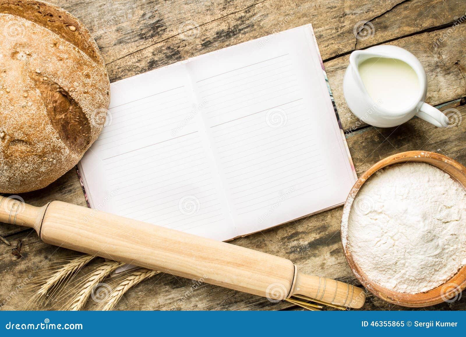 Opened Cookbook With Bakery Background Stock Photo Image