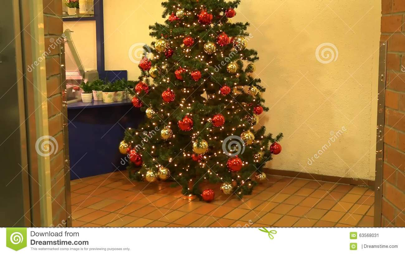 Opened The Door Of The Elevator And There Is A Christmas Tree Stock