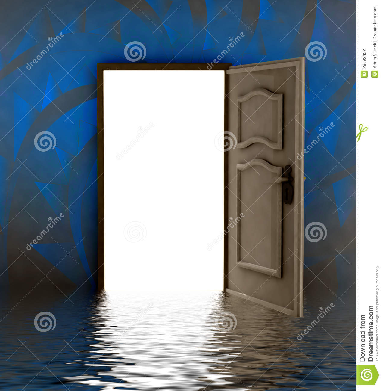 Royalty-Free Stock Photo & Opened Door I Water With Blue Painted Wall Stock Illustration ...