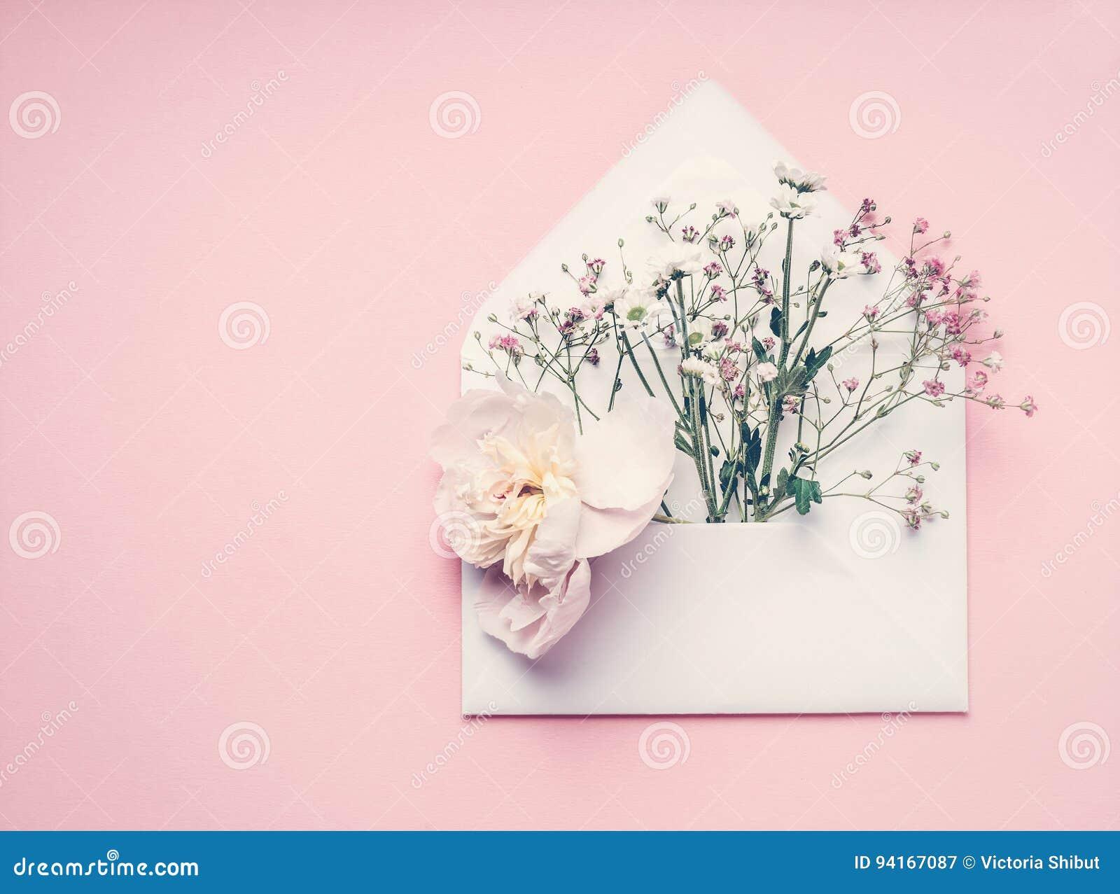 Opened envolve com arranjo de flores no fundo do rosa pastel, vista superior, espaço da cópia Cumprimento criativo, convite