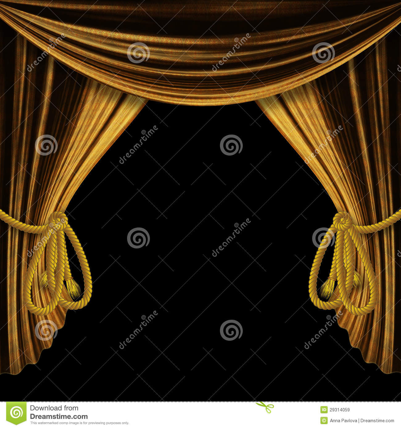 Open theater drapes or stage curtains royalty free stock image image - Theater Theater Stage Opened Gold Curtains On Black Background Royalty Free Stock Images