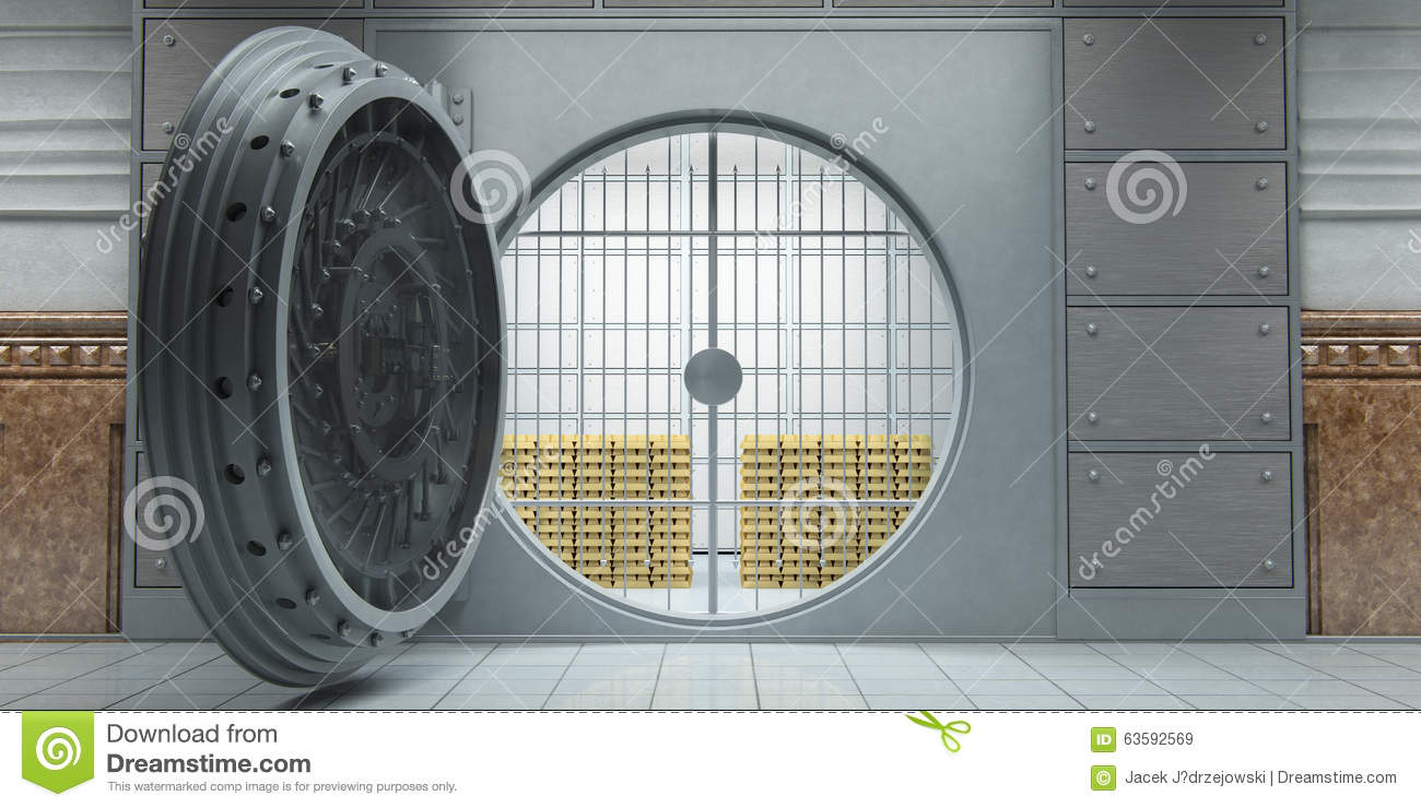Opened Huge Bank Vault Full Of Gold Bars Front View Stock