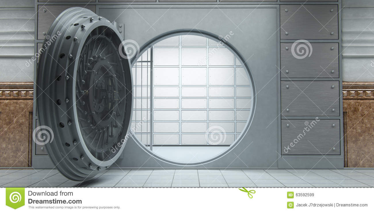 Opened Huge Empty Bank Vault Front View Stock Illustration