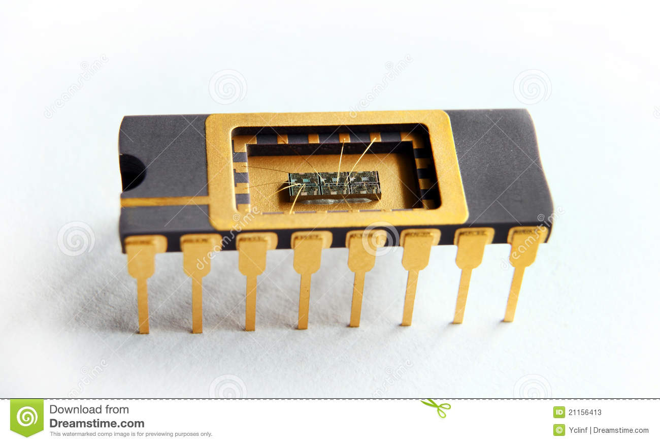 Opened IC With Chip Inside On The White Background Stock Photos ...