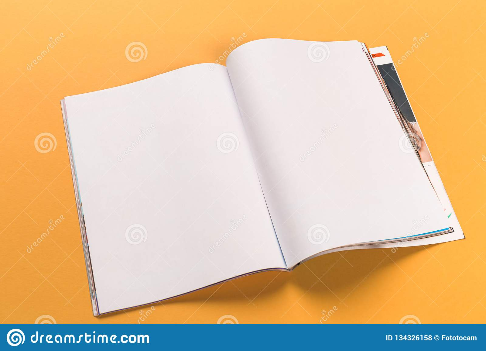 Opened magazine mock-up on orange background