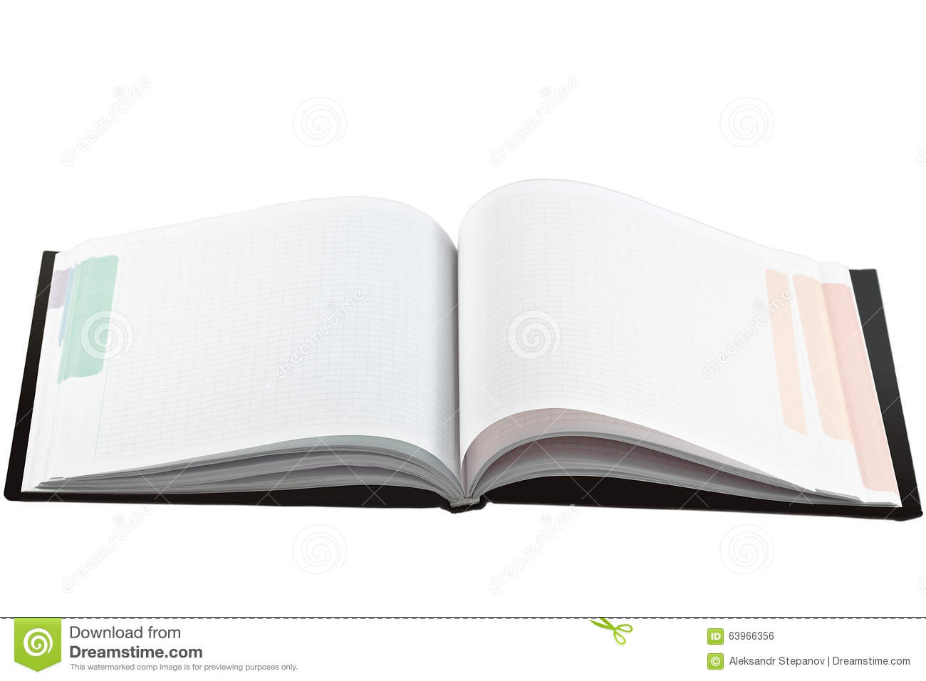 Opened Note Book With Blank Multicolored Pages Stock Photo Image