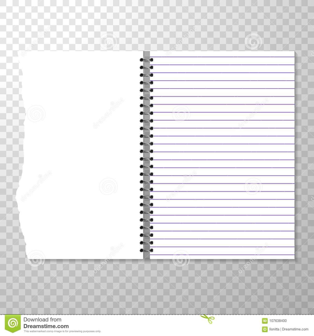Opened notebook template with lined and blank page. Torn piece of.