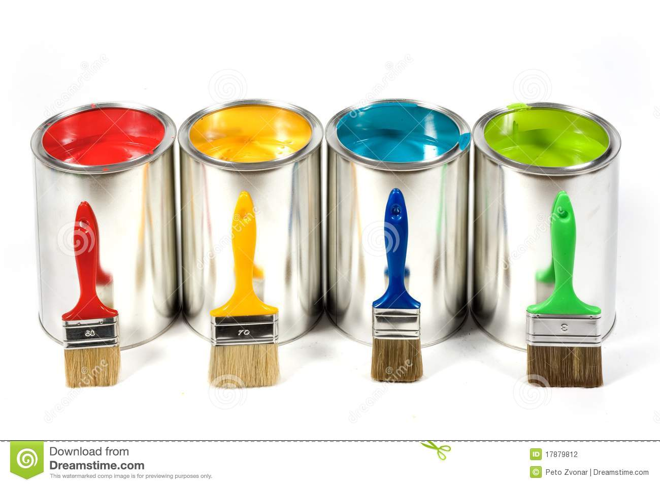 Opened paint cans