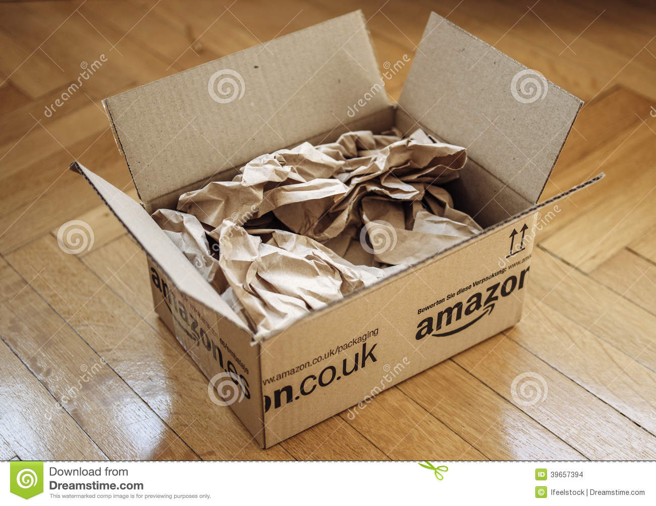 Opened Parcel From Amazon On Home Parquet Floor Editorial Stock ... - Protection Parquet