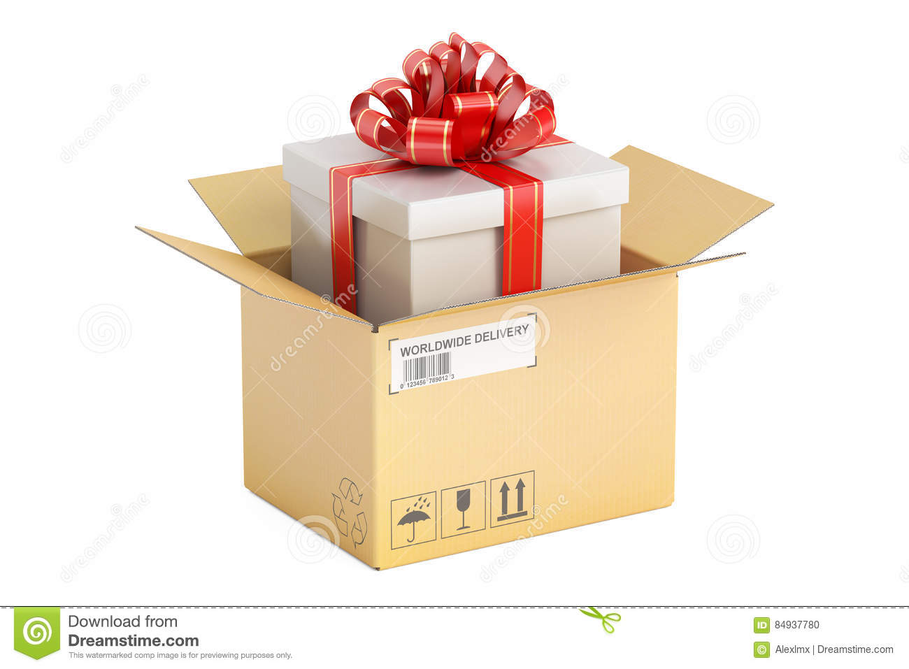 f1e642cd81940 Opened Parcel With Gift Box