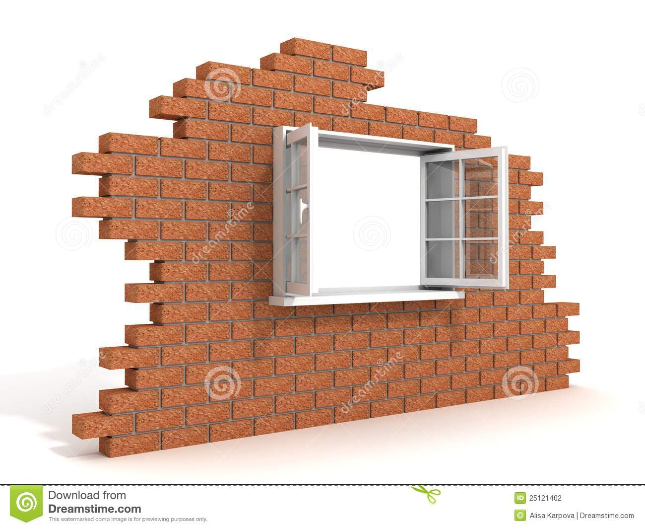 Opened Plastic Window In A Destroyed Brick Wall Stock