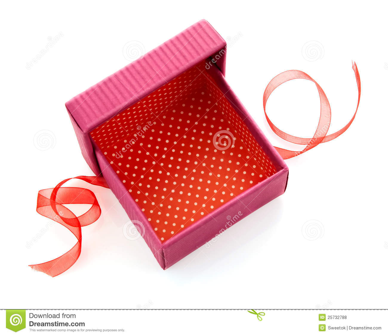 Opened red gift box with ribbon