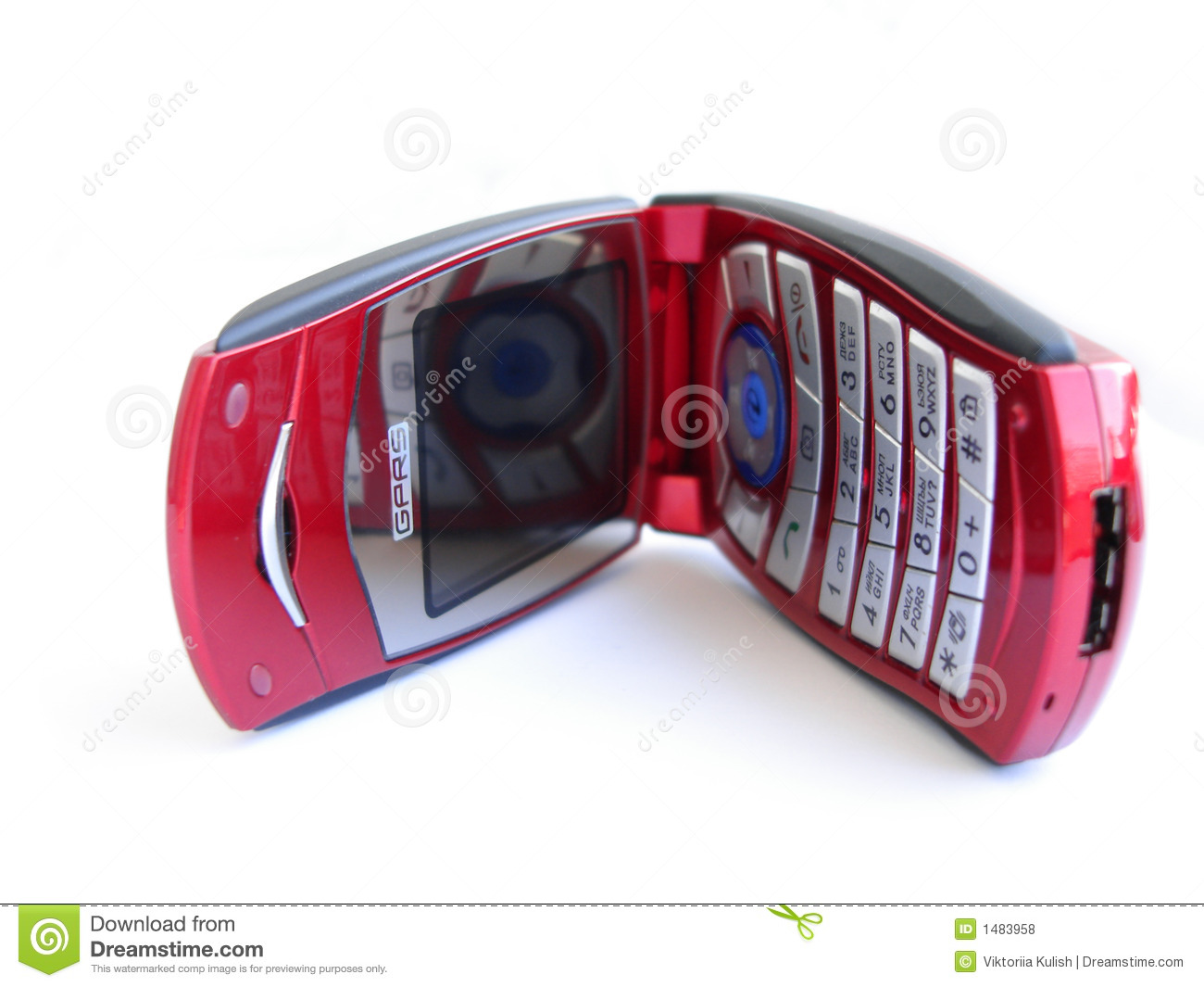 Opened red mobile phone over a white background