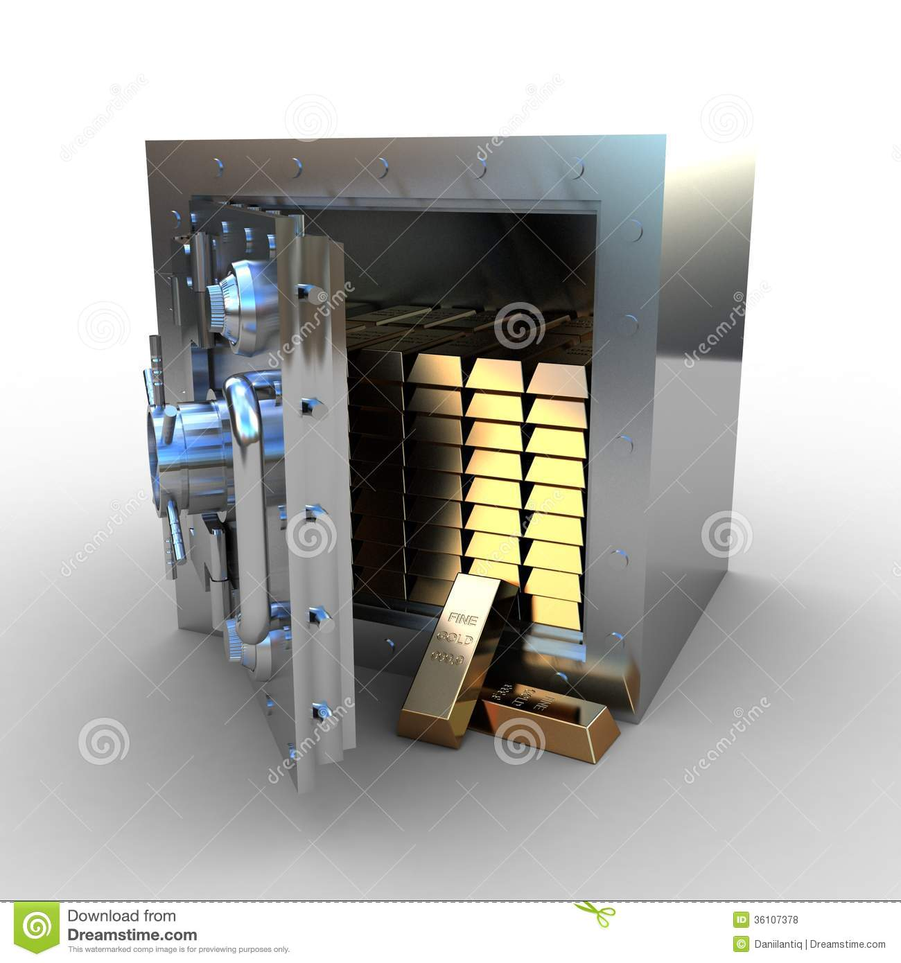 Opened Safe With Gold Ingot Royalty Free Stock Photos - Image ...