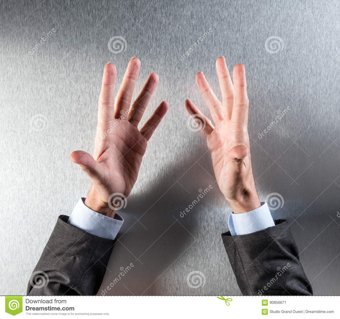 opened salesman hands discussing in a meeting or presentation stock
