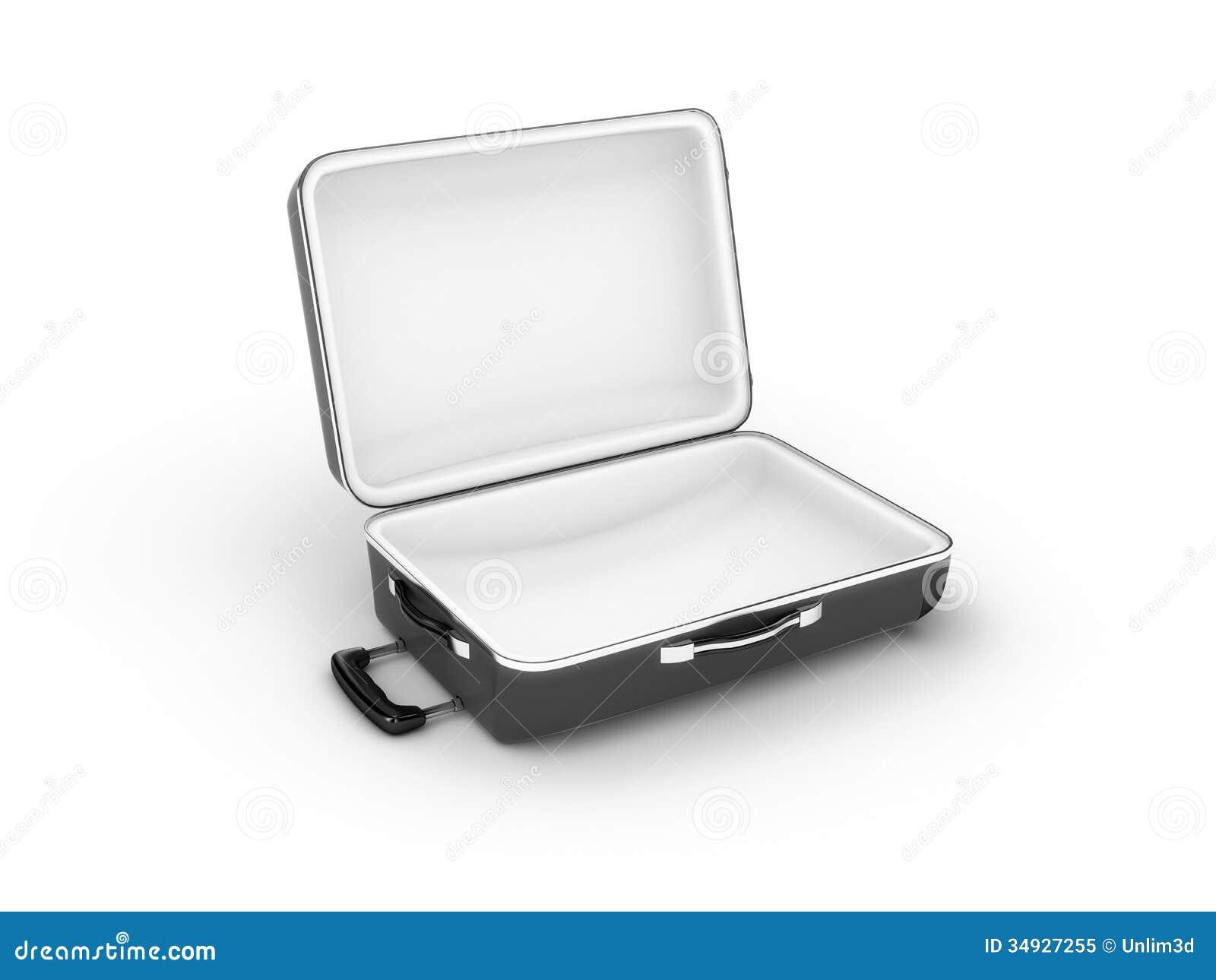 Opened suitcase on white background