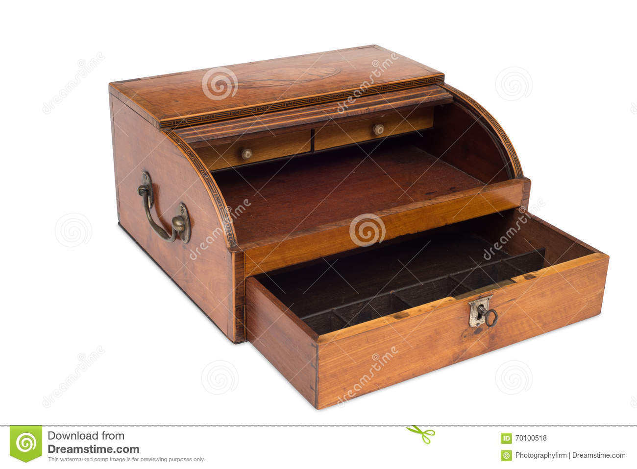 An Opened VIntage Wooden Cash Register Drawer Stock Photo