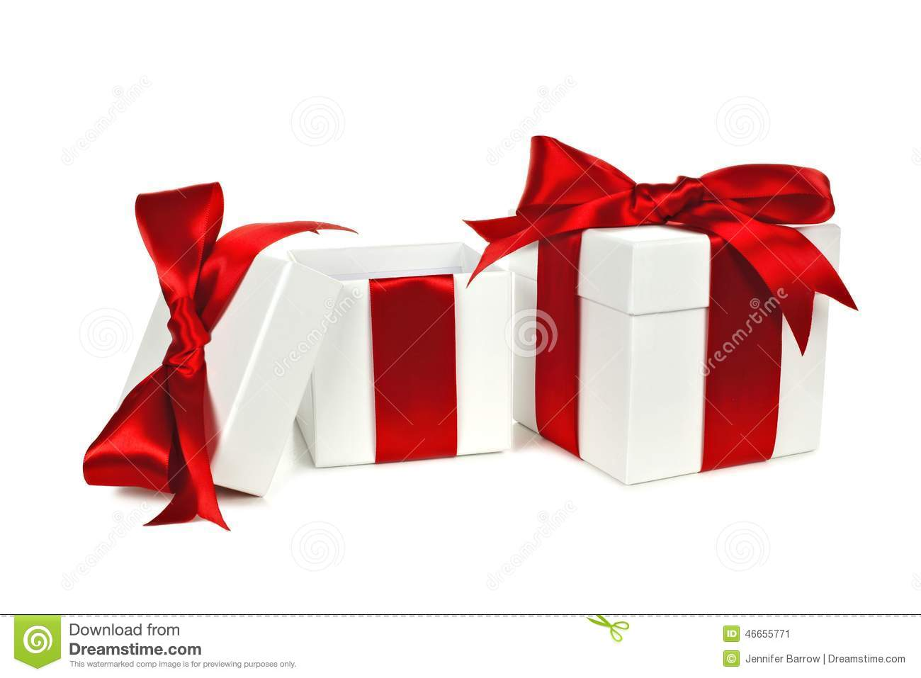 Opened White And Red Gift Boxes Stock Photo - Image: 46655771