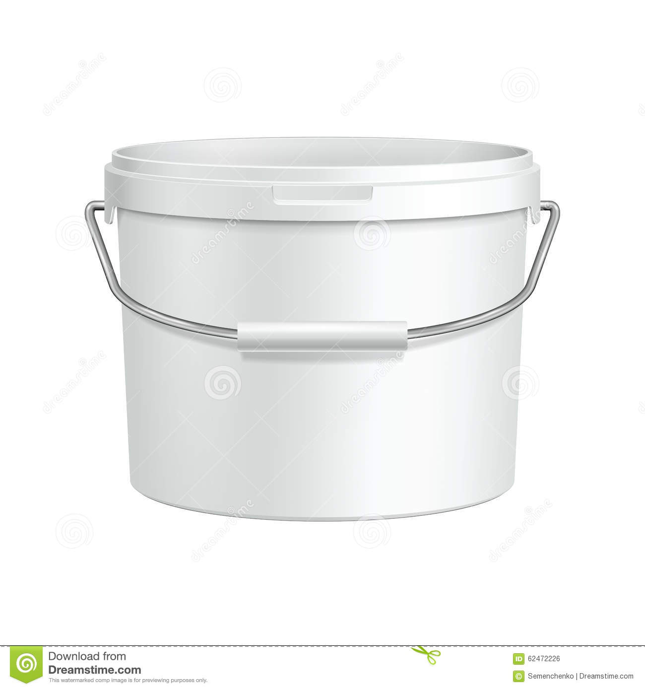 Opened White Tub Paint Plastic Bucket Container With Metal