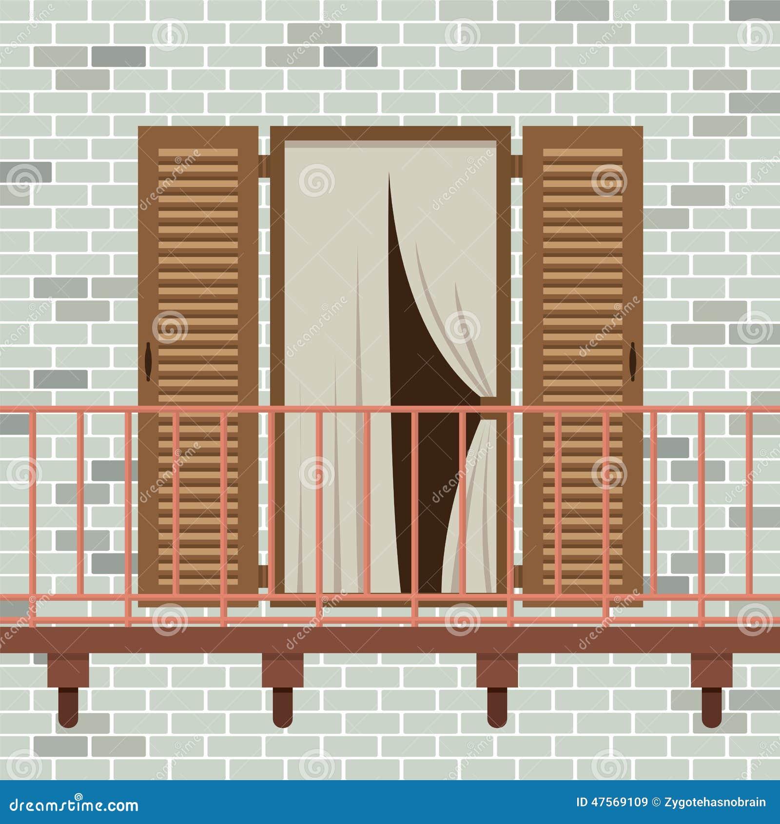 Opened wooden door with balcony stock vector image 47569109 for Balcony vector