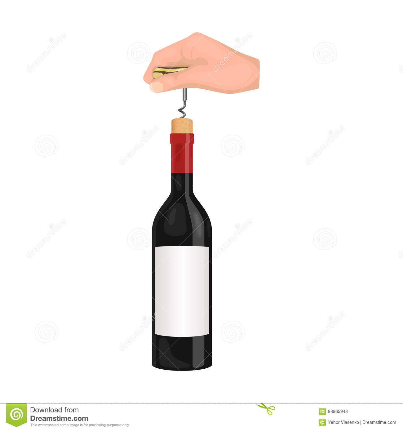 Opening the bottle with a corkscrew. Manipulation with a corkscrew single icon in cartoon style vector symbol stock
