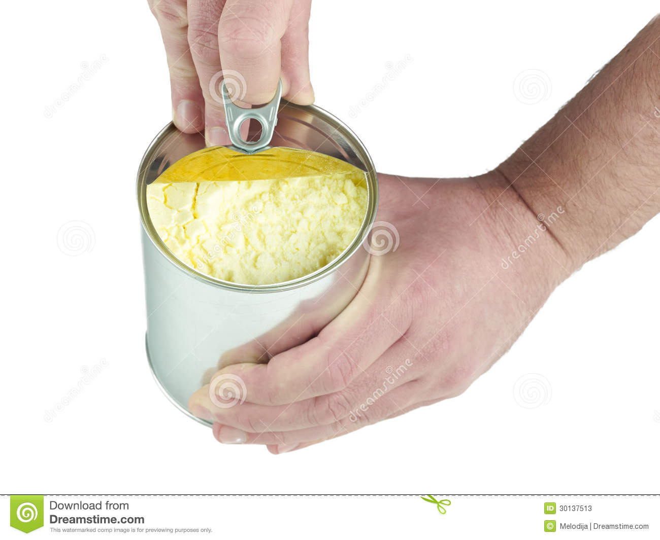 Opening Can With Powdered Milk  Stock Image - Image of child