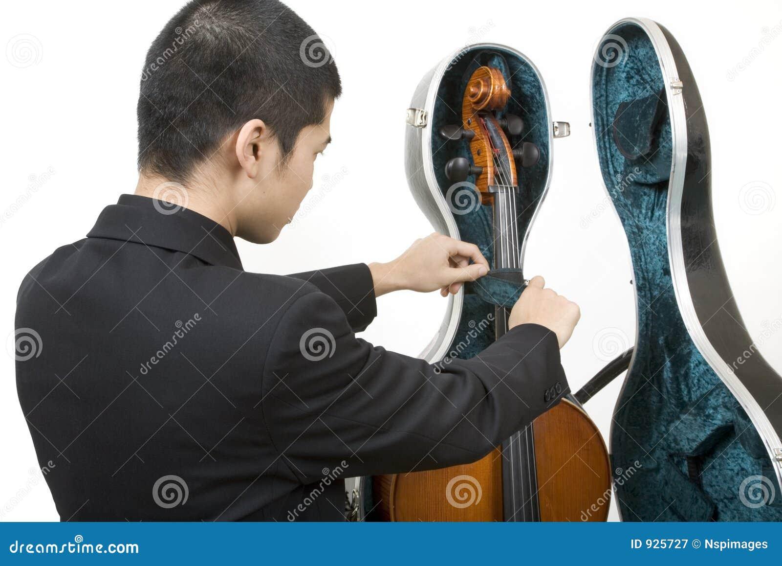 Opening cello case