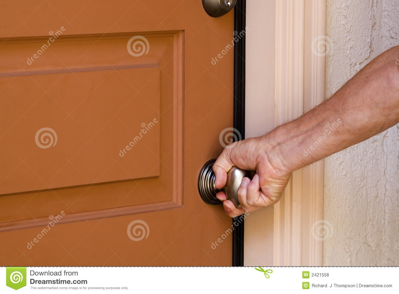 Opening Door Stock Photo Image Of Person Home Door