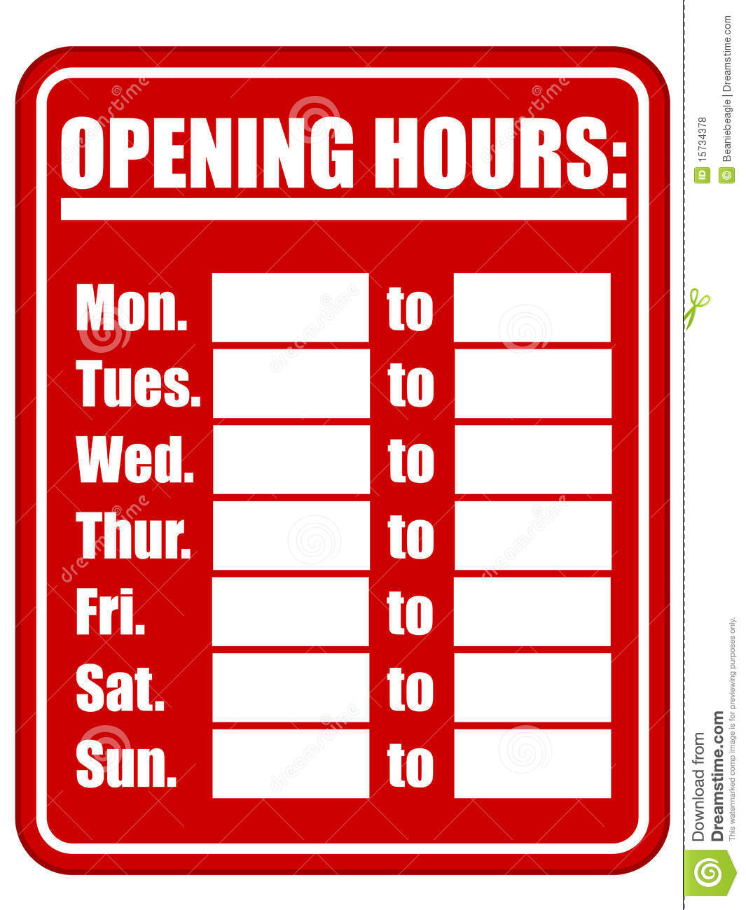 Opening hours sign eps stock vector illustration of isolated 15734378 download comp friedricerecipe Image collections