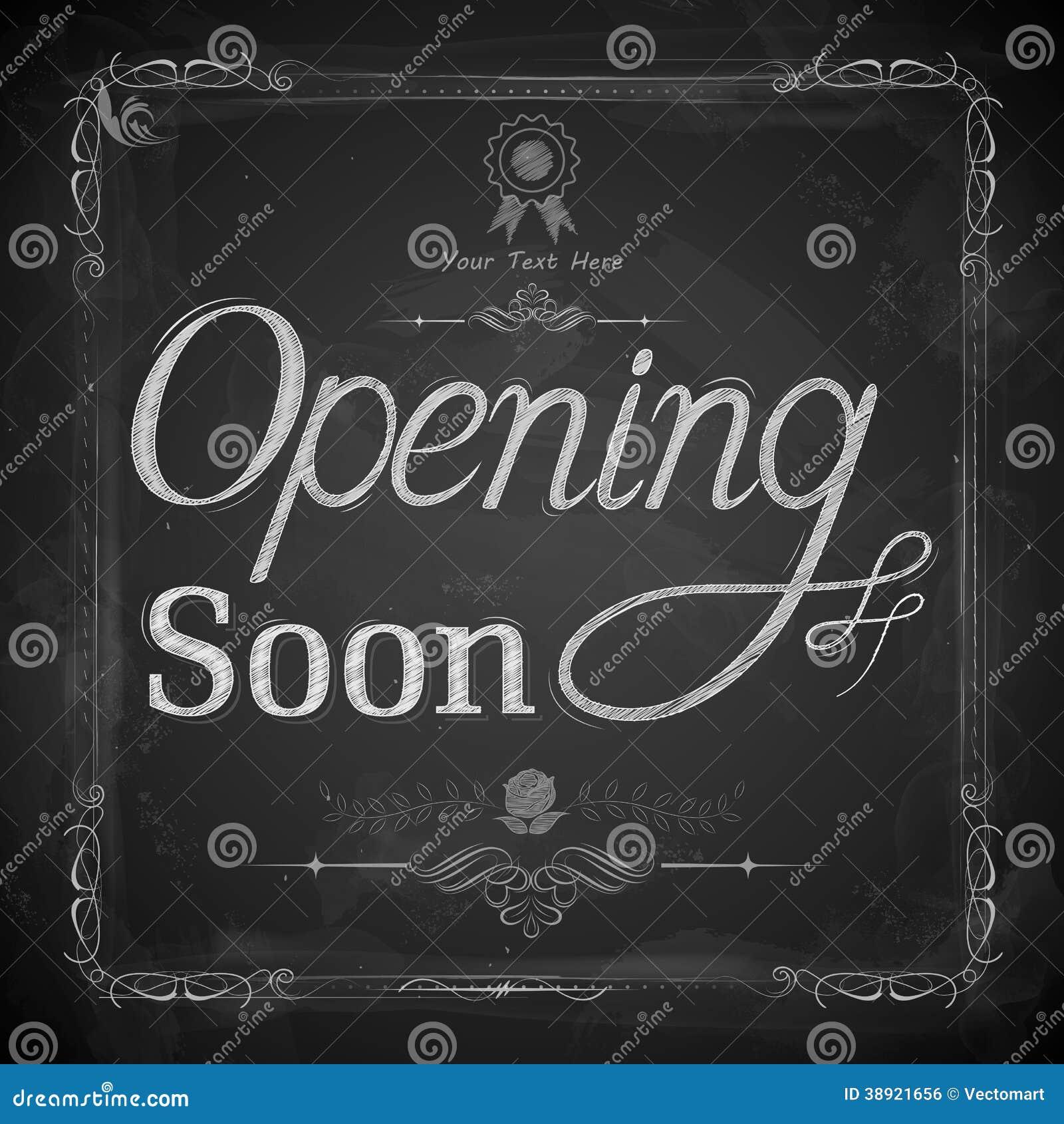 Opening Soon Written On Chalkboard Stock Vector Image