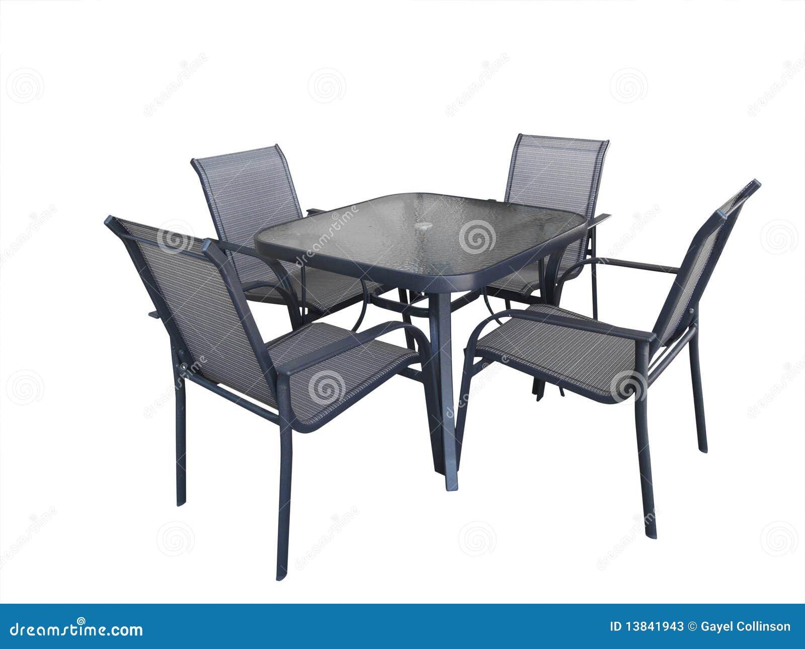Openlucht glaslijst en stoelen