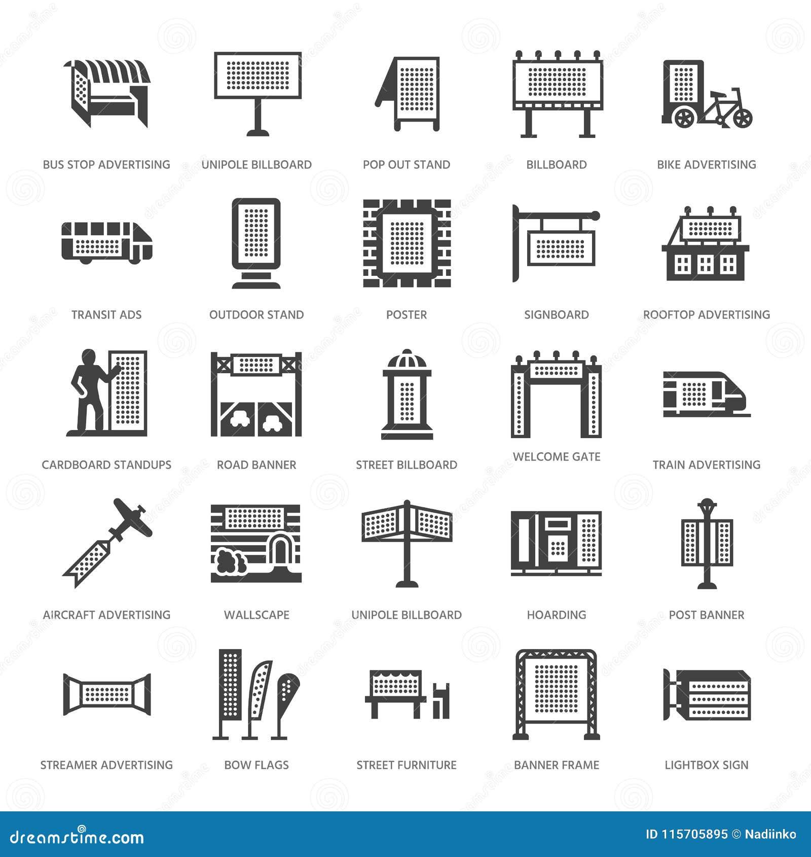 Openlucht reclame, commerciële marketing vlakke glyphpictogrammen Aanplakbord, straatuithangbord, doorgangsadvertenties, affiches