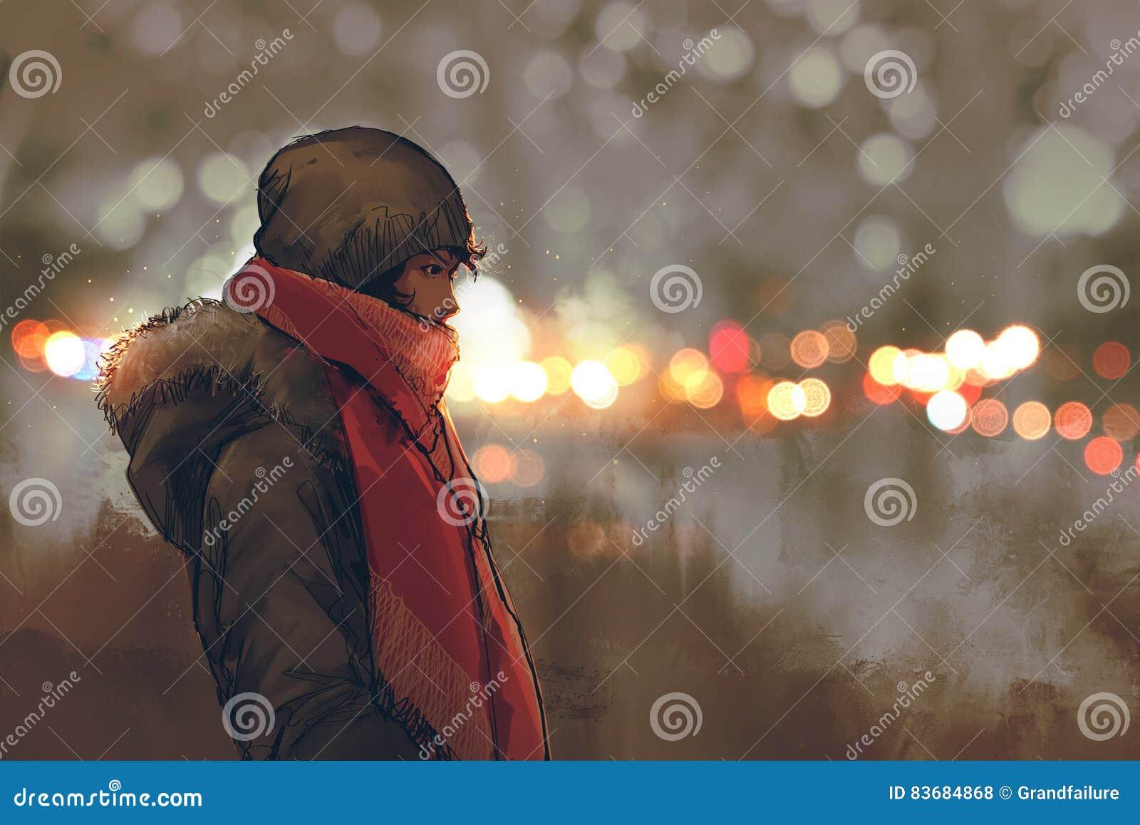 Openluchtportret van de jonge mens in de winter met bokeh