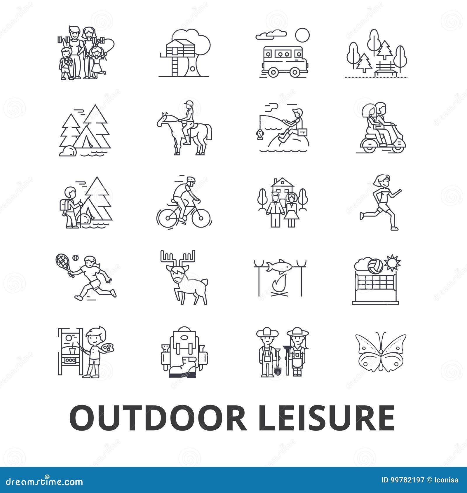 Openluchtvrije tijd verwante pictogrammen