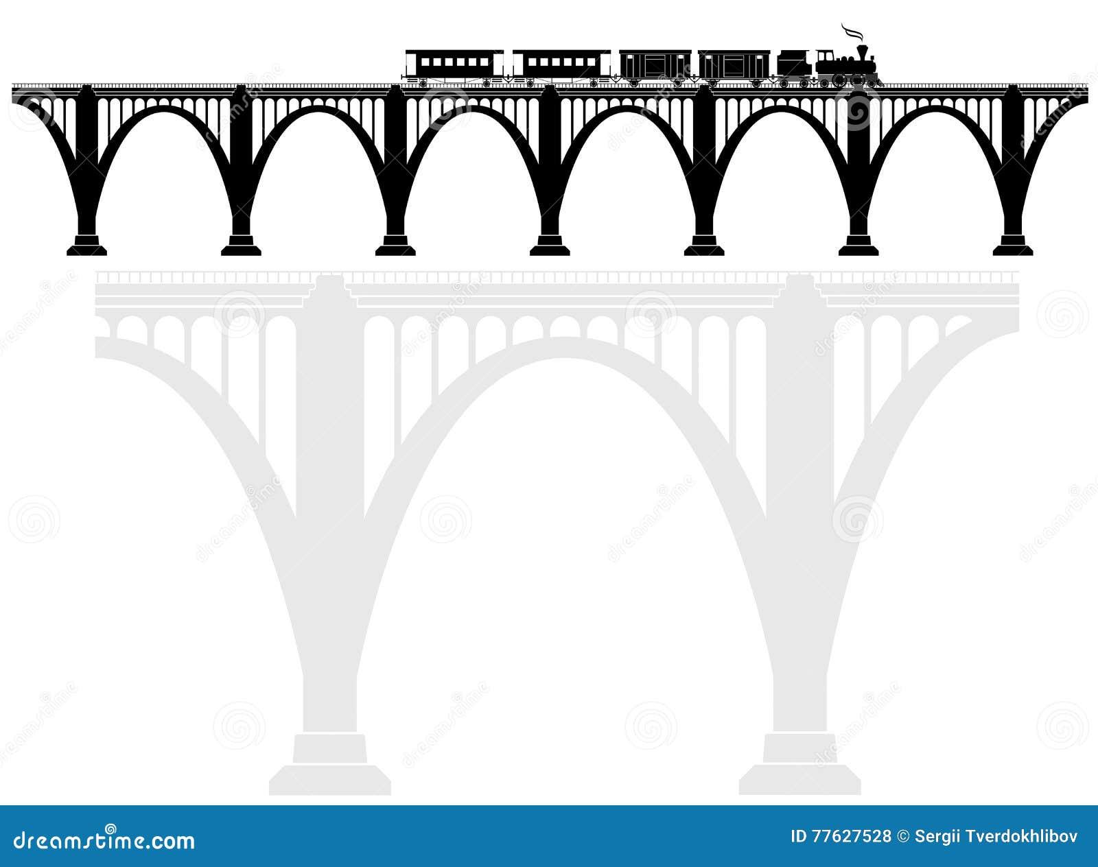 Openwork Arch Concrete Bridge With A Steam Locomotive