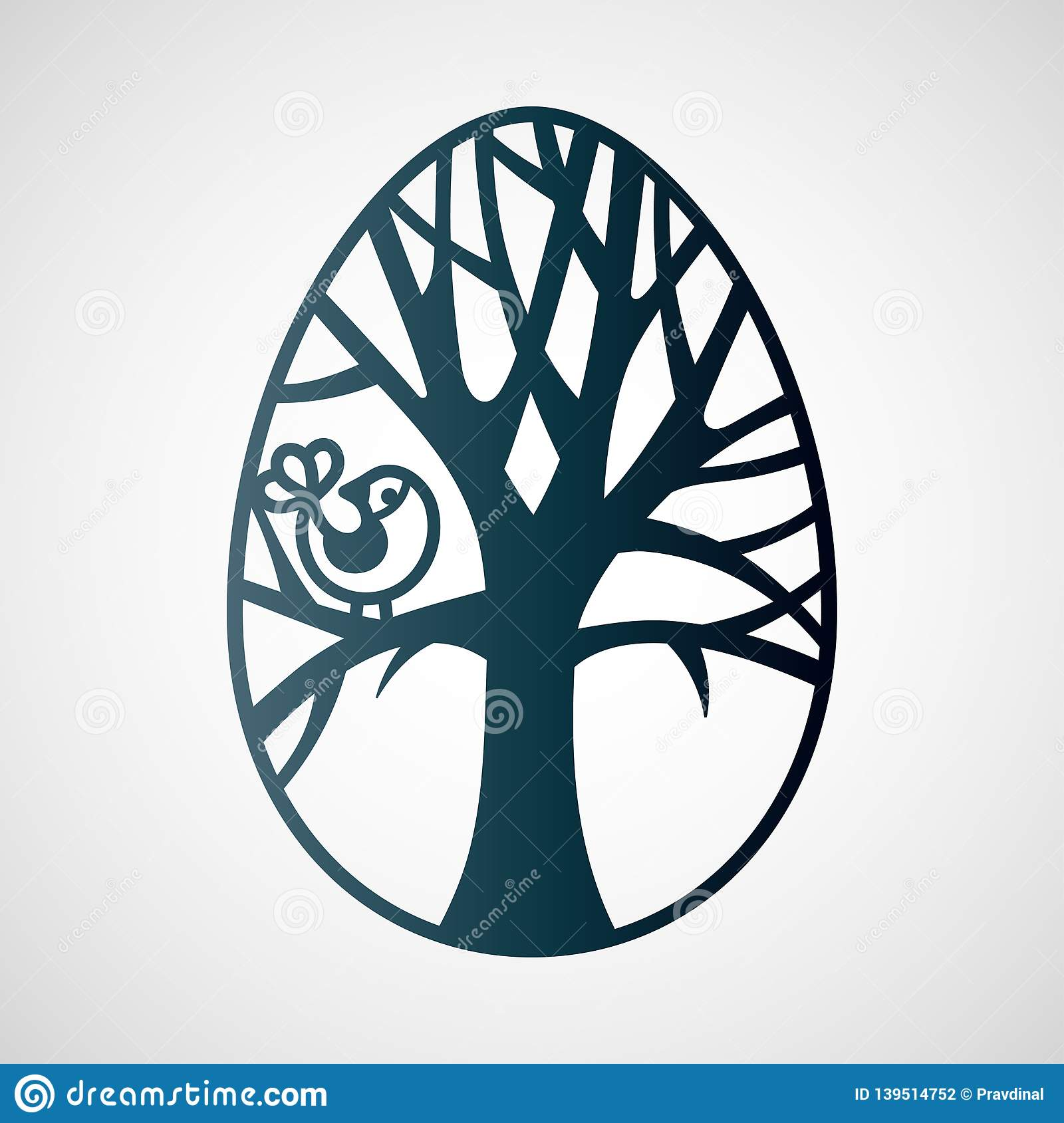 Openwork Easter Egg With Tree And Bird Laser Cutting